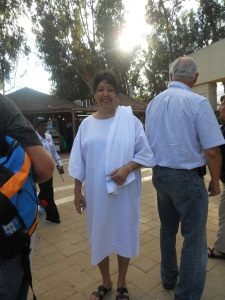 Waiting to be baptized in the Jordan River in Israel