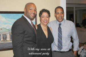 At my retirement party with my sons